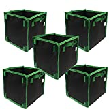 Casolly Square Fabric Grow Bag/Pot 10 Gallon 5 Bags Garden Planting Bags With Green Handle