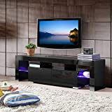 Mecor Modern Black TV Stands with LED Lights, 63 Inch High Glossy TV Console Cabinet with Storage 2...