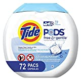 Tide Free and Gentle Laundry Detergent Pods, 72 Count, Unscented and Hypoallergenic for Sensitive...