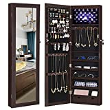 SONGMICS 6 LEDs Jewelry Cabinet Lockable Wall/Door Mounted Jewelry Armoire Organizer with Mirror, 2...
