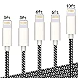 iPhone Charger Cable,Sharllen 3/3/6/6/10FT Nylon Braided Lightning Cable MFi Certified USB Fast...