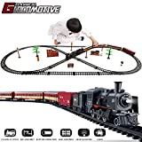 TEMI Electronic Deluxe Railway Train Sets w/ Steam Locomotive Engine, Cargo Car and Tracks, Battery...