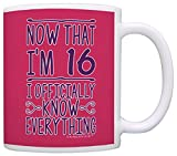 16th Birthday Gifts For All Now That I'm 16 Officially Know Everything Gift Coffee Mug Tea Cup Pink
