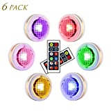LEASTYLE Wireless LED Puck Lights with Remote Controls RGBW Colors Changing Under Cabinet Lighting 4...