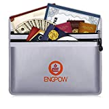 ENGPOW Fireproof Document Bags 15' x 11' Double Pockets Fire and Water Resistant Money Bag Fireproof...