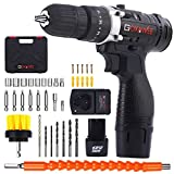 Cordless Drill with 2 Batteries - GOXAWEE 100pcs Accessories 12V Electric Power Drill Set with...