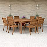 Amazonia Arizona 9 Piece Square Outdoor Dining Set |Super Quality Eucalyptus Wood| Durable and Ideal...