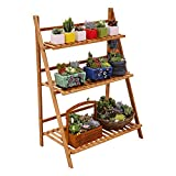Ufine Bamboo Ladder Plant Stand 3 Tier Foldable Flower Pot Display Shelf Rack for Indoor Outdoor...