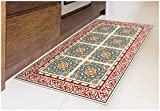 Tiva Design Barcelona RED Vinyl Floor Mat: Decorative Linoleum PVC Rug Runner Tile Flooring in 12...