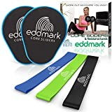 EddMark Professional Core Exercise Sliders - Dual Sided Gliding Discs Set of 2 - Resistance Bands...