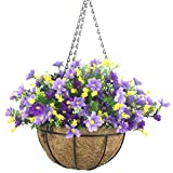 Lopkey Artificial Daisy Flowers Outdoor Indoor Patio Lawn Garden Hanging Basket with Chain...