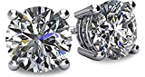 NANA 14k Gold Post & Sterling Silver 4 Prong CZ Stud Earrings -Platinum Plated-5.5mm-1.50cttw