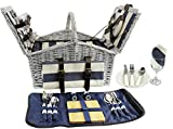 HappyPicnic 'Huntsman' Willow Picnic Hamper for 4 Persons with 'Built-in' Insulated Cooler, Wicker...