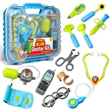 Durable Kids Doctor Kit with Electronic Stethoscope and 12 Medical Doctor's Equipment, Packed in a...