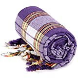 Lushrobe Classic Turkish Bath Hammam Peshtemal Fouta Massage Towel (Purple) - Pack of 4