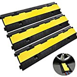 Happybuy 3 Pack of 2 11000lbs per Axle Capacity Protective Wire Cord Ramp Driveway Rubber Traffic...