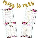 3 Bridal Shower Games Bundle with Bonus Miss to Mrs. Gold Glitter Banner & (50) Advice for the Bride...