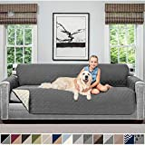SOFA SHIELD Original Patent Pending Reversible Oversize Sofa Slipcover, Dogs, 2' Strap/Hook, Seat...