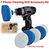Jeteven 4 Inch Nylon Scrub Pads Cleaning Drill Kit with Posting Backing Pad for RotoScrub White+Blue...