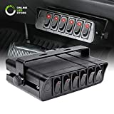 80-Amp On/Off Switch Box [20A Rocker Switches] [LED Backlit] [12AWG Input Wire] 12V SPST 6-Gang...