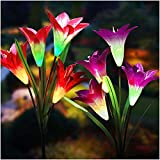 Solar Lights Outdoor - New Upgraded Solar Garden Lights, Multi-Color Changing Lily Solar Flower...