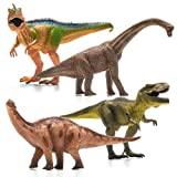 Prextex 13' Realistic Looking Dinosaurs Pack of 4 Jumbo Plastic Assorted Dinosaur Figures