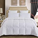Decroom 100% Cotton Quilted Down Comforter with White Goose Duck Down Feather Filling-Lightweight...