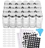 Aozita 24 Pcs Glass Spice Jars/Bottles - 4oz Empty Square Spice Containers with 612 Spice Labels -...