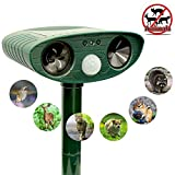 ZOVENCHI Ultrasonic Animal Repeller, Solar Powered Repeller with Motion Sensor Ultrasonic and Red...