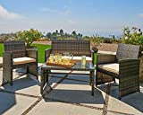 OUTROAD Outdoor Furniture 4 Piece Grey Wicker Patio Sofa Set - All Weather Cushioned Wicker Love...