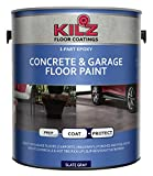 KILZ L377711 1-Part Epoxy Acrylic Interior/Exterior Concrete and Garage Floor Paint, Satin, Slate...