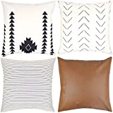 Woven Nook Decorative Throw Pillow Covers ONLY for Couch, Sofa, or Bed Set of 4 18x18 20x20 and...