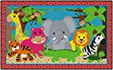 Flagship Carpets CE418-28W Cutie Jungle, Children's Classroom Nursery Rug, Rectangle, 5'x8'