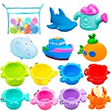 INNOCHEER Bath Toys and Stacking Cups for Toddlers with Quick Dry Organizer Net-13 Pcs Early...