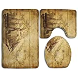 DING Old Map Nautical Pirate Ship Soft Comfort Flannel Washroom Mats,Non-Slip Absorbent Toilet Seat...