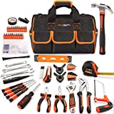 REXBETI 169-Piece Premium Tool Kit with 16 inch Tool Bag, Steel Home Repairing Tool Set, Large Mouth...