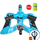 MIAOMIAO Blue Lawn Sprinkler,360° Rotating Yard and Garden Water Lawn Sprinkler with a Large Area...
