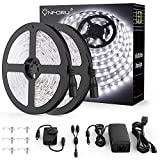 Onforu 66ft Dimmable LED Strip Lights Kit, UL Listed Power Supply, 6000K Daylight White, 20m 1200...