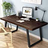 Tribesigns 55' Rustic Solid Wood Computer Desk, Vintage Industrial Home Office Desk with Heavy-Duty...