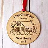 Housewarming Gifts 2018, Dated First Christmas In Our New House Ornament New Home Rustic Xmas...