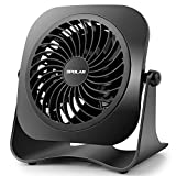 OPOLAR 4 Inch Mini USB Desk Fan, 2 Speeds, Lower Noise, USB Powered, 360° Up and Down, 3.8 ft...