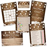 Rustic Bridal Shower Games | Set of 5 Games | 50 Sheets Each | Bridal Shower Games and Wedding...