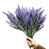WsCrafts 12Pcs Artificial Lavender Flowers Bouquet Fake Lavender Plant Bundle - Simulation of...