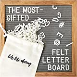 Gray Felt Letter Board 10x10 Inches. Changeable Letter Boards Include 300 White Plastic Letters and...
