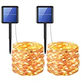 AMIR Solar Powered String Lights, 200 LED Copper Wire Lights, 72ft 8 Modes Starry Lights, Waterproof...