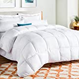 LINENSPA All-Season White Down Alternative Quilted Comforter - Corner Duvet Tabs - Hypoallergenic -...
