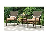 Mainstays Alexandra 3-piece Bistro Outdoor Patio Furniture Set Features Red Stripe Cushions with...