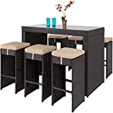 Best Choice Products 7-Piece Outdoor Rattan Wicker Bar Dining Patio Furniture Set w/ Glass Table...