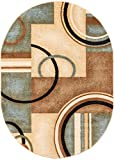 Deco Rings Light Blue Geometric Modern Casual Area Rug 4x6 (3'11' x 5'9' Oval) Easy Clean Stain Fade...