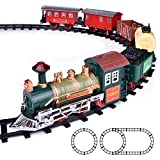 FUN LITTLE TOYS Train Set Classic Electric Train Toy Included 6 Cars and 11 Tracks with Lights and...